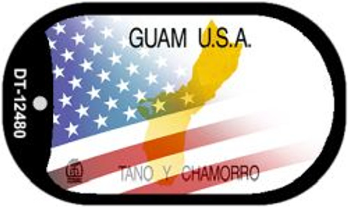 Guam with American Flag Novelty Metal Dog Tag Necklace DT-12480