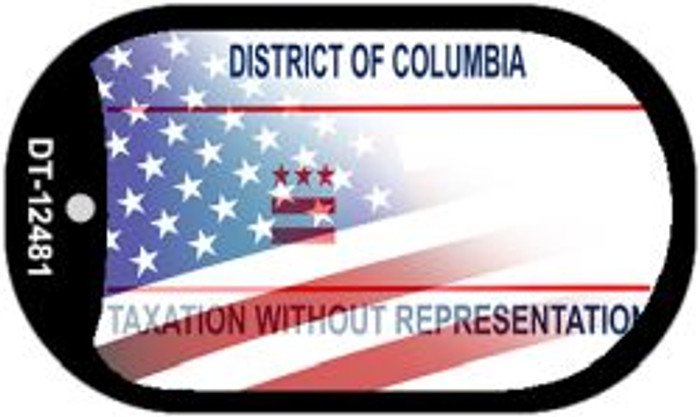District of Columbia with American Flag Novelty Metal Dog Tag Necklace DT-12481