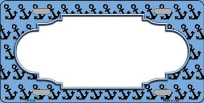 Light Blue Black Anchor Print With Scallop Center Metal Novelty License Plate LP-5323