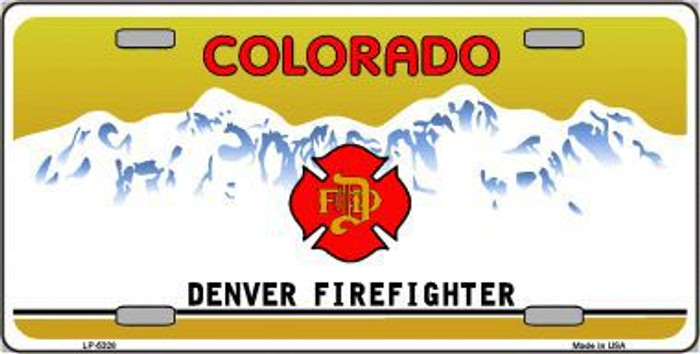 Denver Fire Fighter Metal Novelty License Plate