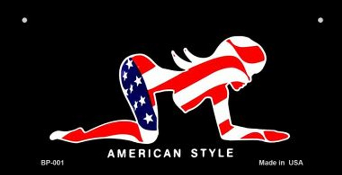 American Style Sexy Flag Pose Novelty Metal Bicycle Plate BP-001