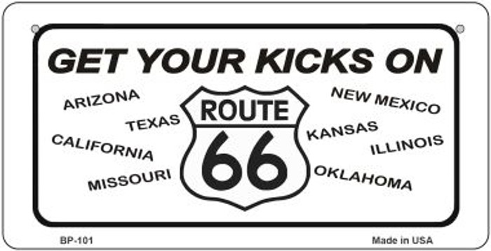 Get Your Kicks On 66 Novelty Metal Bicycle Plate BP-101