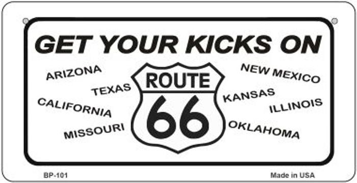 Get Your Kicks On 66 Novelty Metal Bicycle Plate BP-101