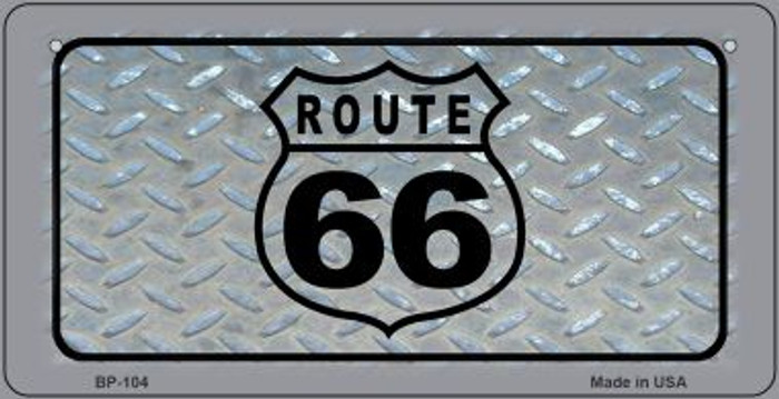 Route 66 Shield Diamond Novelty Metal Bicycle Plate BP-104