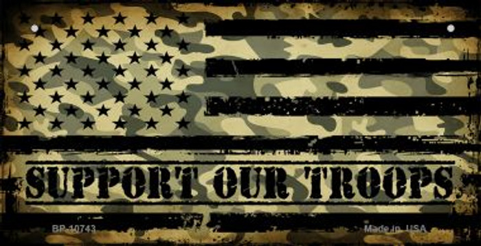 Camo American Flag Support Troops Novelty Metal Bicycle Plate BP-10743