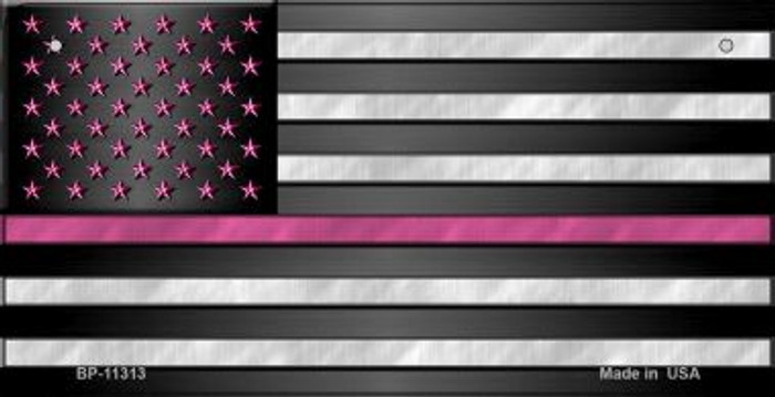 Thin Pink Line With Pink Stars Novelty Metal Bicycle Plate BP-11313