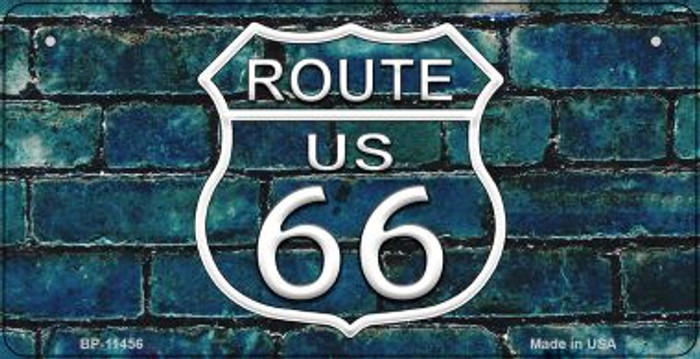 Route 66 Blue Brick Wall Novelty Metal Bicycle Plate BP-11456