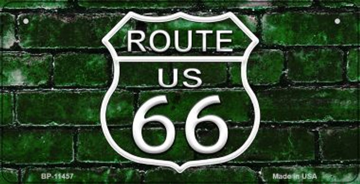 Route 66 Green Brick Wall Novelty Metal Bicycle Plate BP-11457