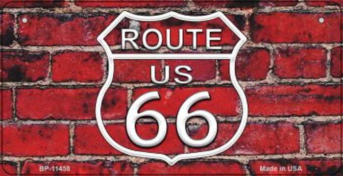 Route 66 Red Brick Wall Novelty Metal Bicycle Plate BP-11458