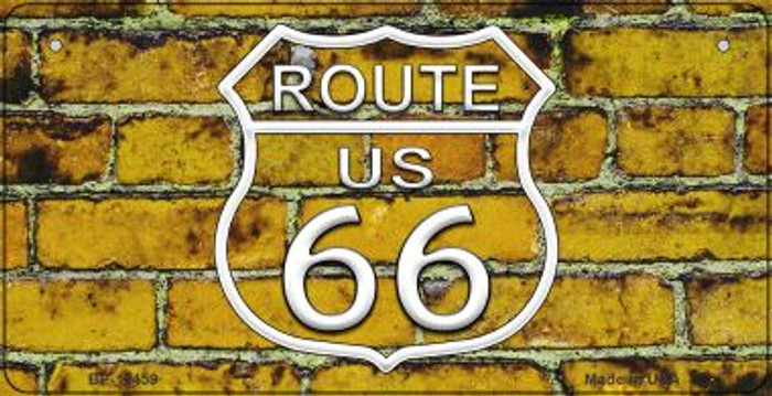Route 66 Yellow Brick Wall Novelty Metal Bicycle Plate BP-11459