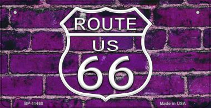 Route 66 Purple Brick Wall Novelty Metal Bicycle Plate BP-11460