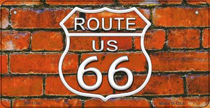 Route 66 Orange Brick Wall Novelty Metal Bicycle Plate BP-11461