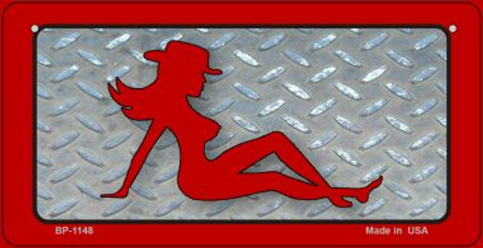 Cowgirl Mud Flap Novelty Metal Bicycle Plate BP-1148