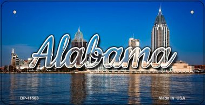 Alabama City Skyline Novelty Metal Bicycle Plate BP-11583