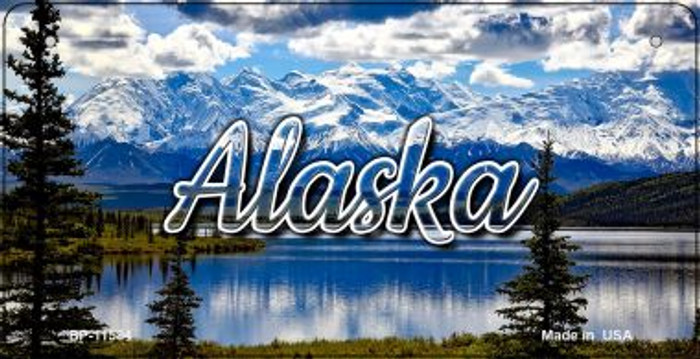 Alaska Snowy Mountains Novelty Metal Bicycle Plate BP-11584