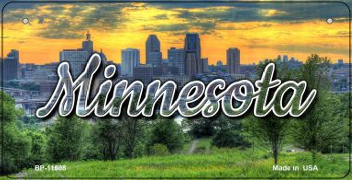 Minnesota City Skyline Sunset Novelty Metal Bicycle Plate BP-11608