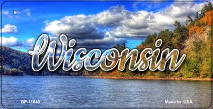 Wisconsin Colorful Lake Novelty Metal Bicycle Plate BP-11640