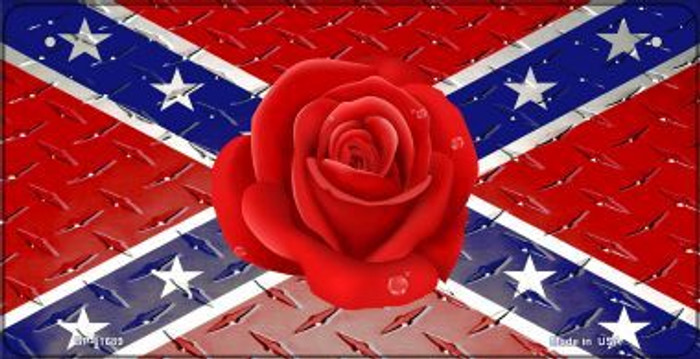 Confederate Flag With Red Rose Novelty Metal Bicycle Plate BP-11689