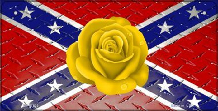 Confederate Flag With Yellow Rose Novelty Metal Bicycle Plate BP-11690