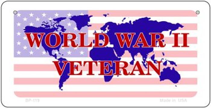 WW11 Veteran With American Flag Novelty Metal Bicycle Plate BP-119