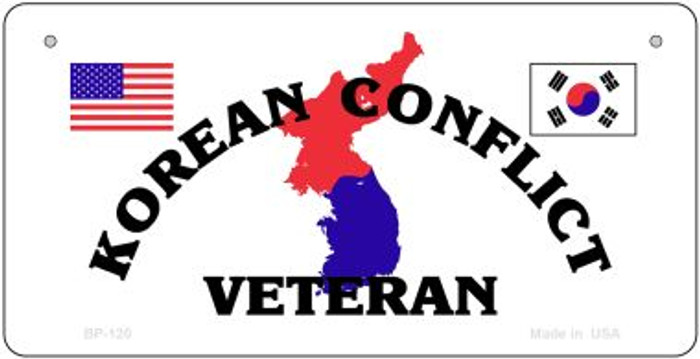 Korean Conflict Veteran Novelty Metal Bicycle Plate BP-120