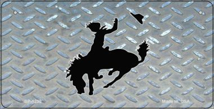 Bucking Bronco Diamond Novelty Metal Bicycle Plate BP-1230