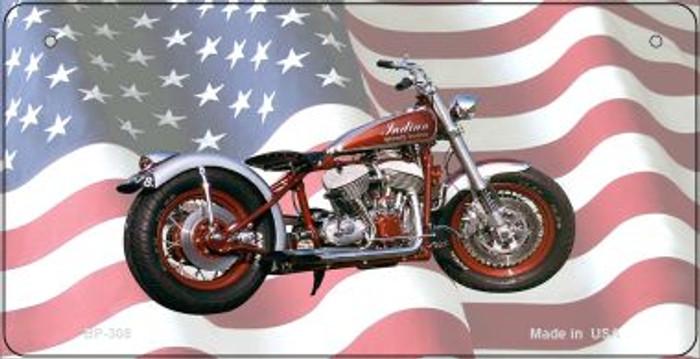 Indian Motorcycle American Flag Novelty Metal Bicycle Plate BP-308