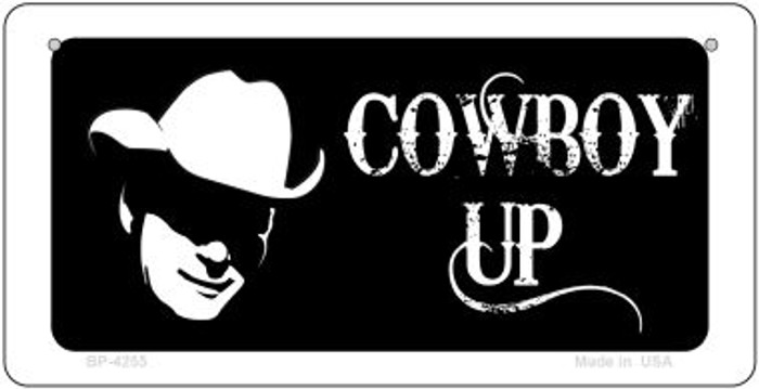 Cowboy Up Novelty Metal Bicycle Plate BP-4255