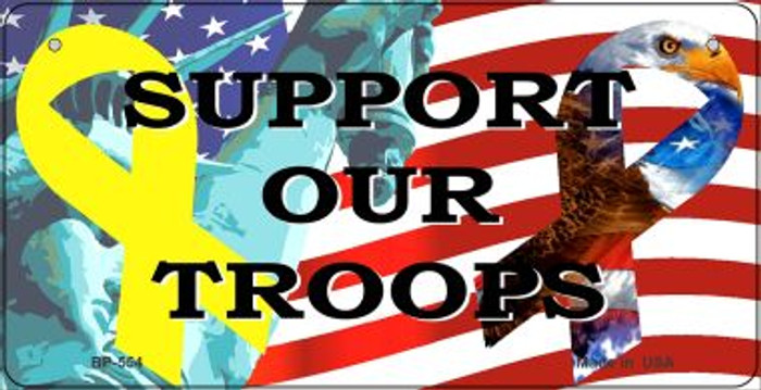 Support Our Troops Novelty Metal Bicycle Plate BP-554