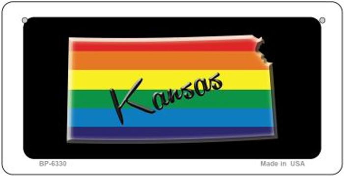Kansas Rainbow State Novelty Metal Bicycle Plate BP-6330