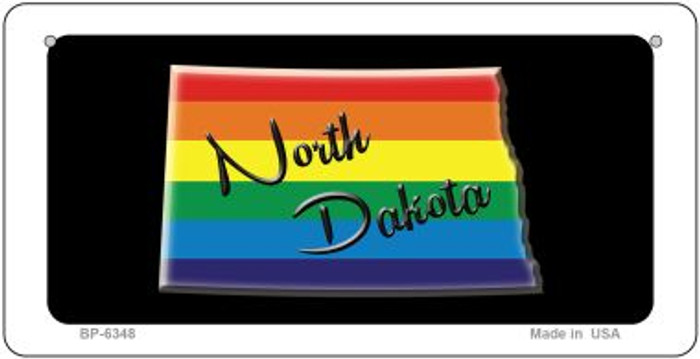 North Dakota Rainbow State Novelty Metal Bicycle Plate BP-6348