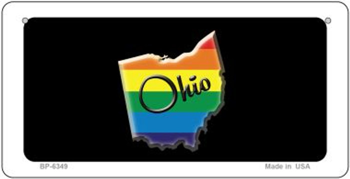 Ohio Rainbow State Novelty Metal Bicycle Plate BP-6349