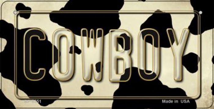 Cowboy Cow Print Novelty Metal Bicycle Plate BP-8551