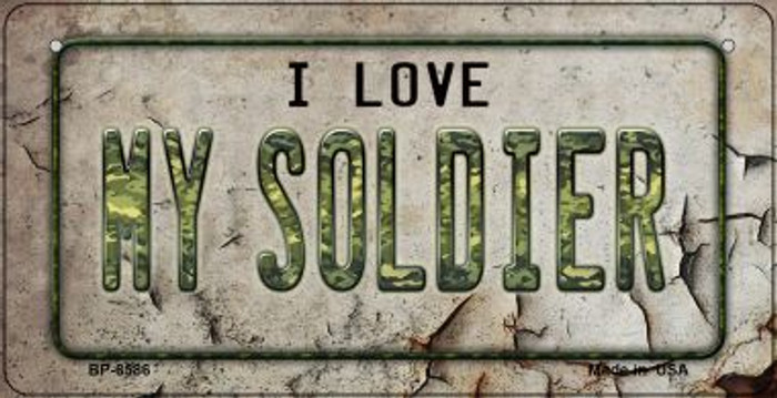 I Love My Soldier Novelty Metal Bicycle Plate BP-8586