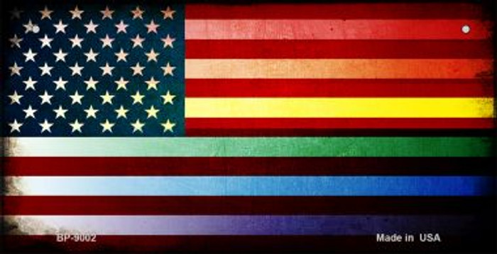 American Flag Rainbow Novelty Metal Bicycle Plate BP-9002