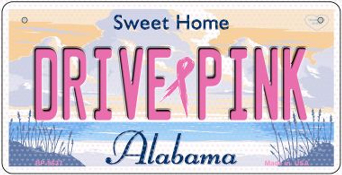 Drive Pink Alabama Novelty Metal Bicycle Plate BP-9637
