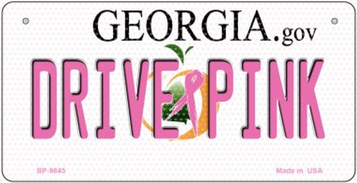 Drive Pink Georgia Novelty Metal Bicycle Plate BP-9645