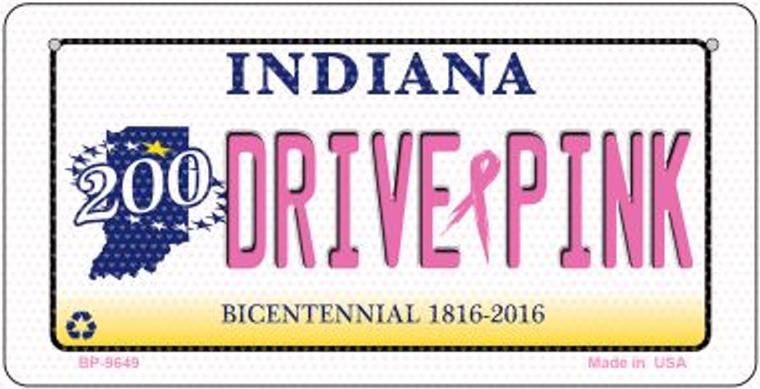 Drive Pink Indiana Novelty Metal Bicycle Plate BP-9649