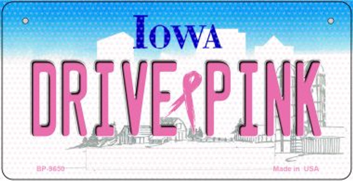 Drive Pink Iowa Novelty Metal Bicycle Plate BP-9650