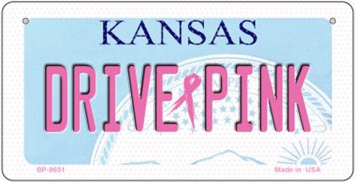 Drive Pink Kansas Novelty Metal Bicycle Plate BP-9651