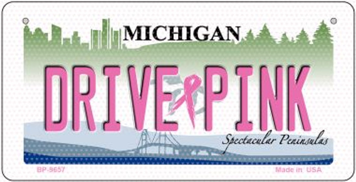 Drive Pink Michigan Novelty Metal Bicycle Plate BP-9657