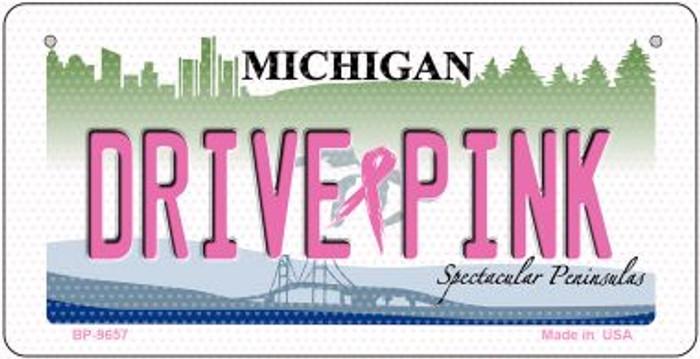 Drive Pink Michigan Novelty Metal Bicycle Plate BP-9657