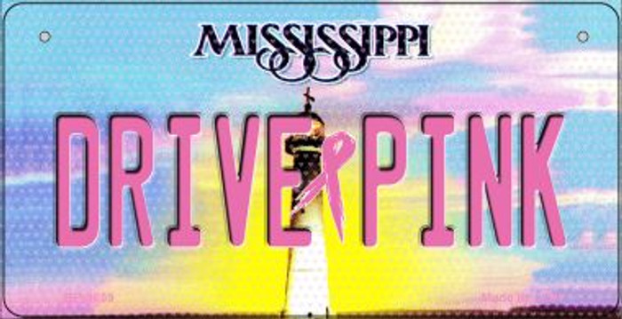 Drive Pink Mississippi Novelty Metal Bicycle Plate BP-9659