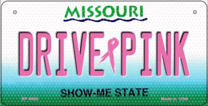 Drive Pink Missouri Novelty Metal Bicycle Plate BP-9660