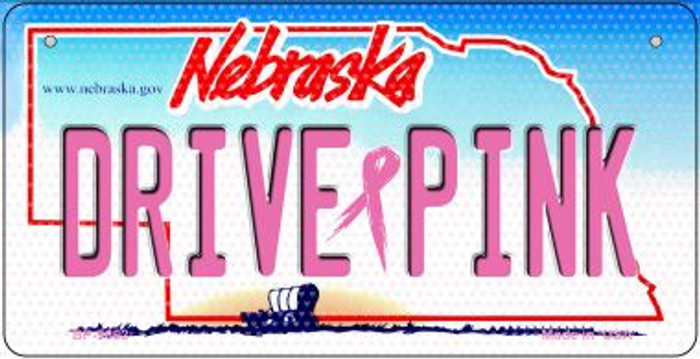 Drive Pink Nebraska Novelty Metal Bicycle Plate BP-9662