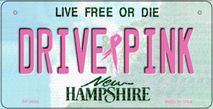 Drive Pink New Hampshire Novelty Metal Bicycle Plate BP-9664