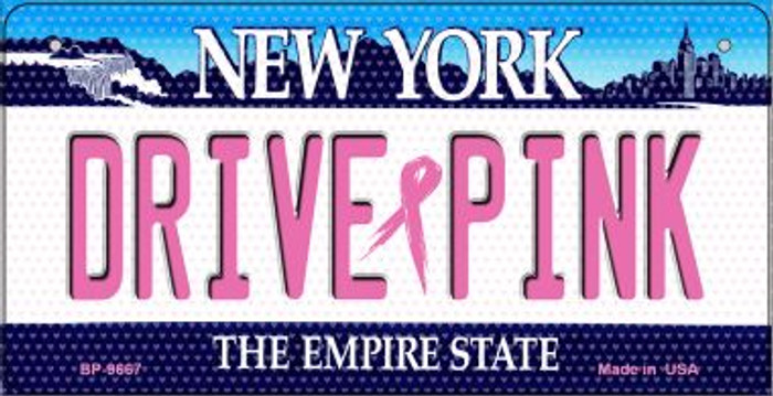 Drive Pink New York Novelty Metal Bicycle Plate BP-9667