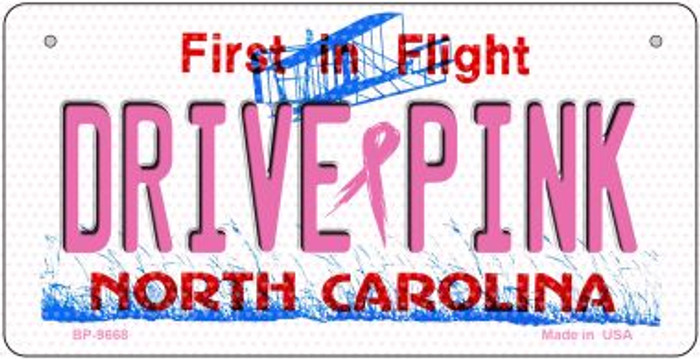 Drive Pink North Carolina Novelty Metal Bicycle Plate BP-9668