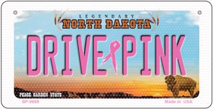 Drive Pink North Dakota Novelty Metal Bicycle Plate BP-9669