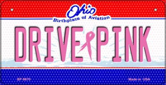Drive Pink Ohio Novelty Metal Bicycle Plate BP-9670
